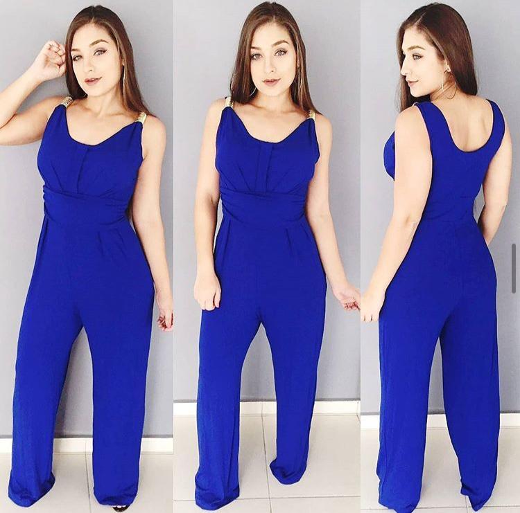 Macacão Feminino Longo Azul com Bojo - Camila