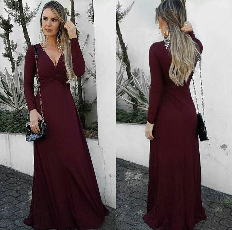 Vestido Longo Manga Longa Bordô - Adriana