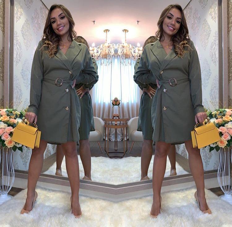 Vestido Chemise Verde Militar - Alessandra