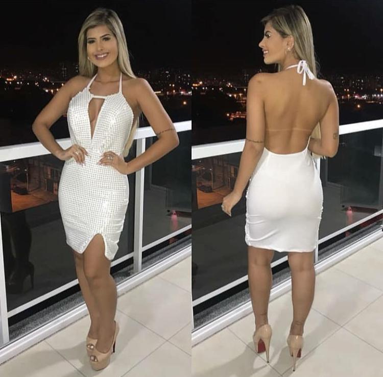 Vestido Curto Branco com Paetê – Samira