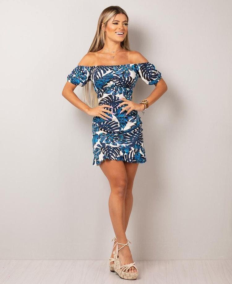 Vestido Curto Ciganinha com Babadinho Azul - Monique