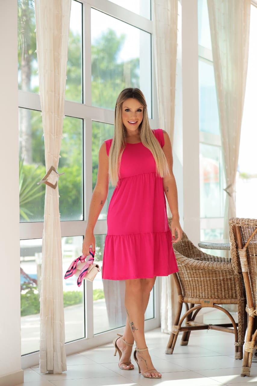 Vestido Curto Rodado Soltinho com Manguinha Pink - Lary