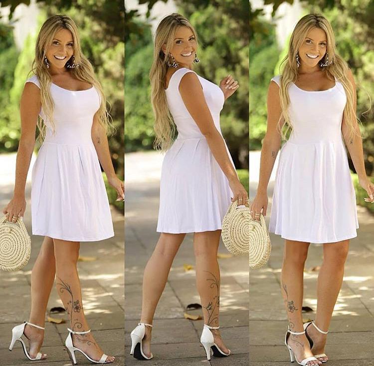 Vestido Curto Soltinho Rodado Branco - Scarlet