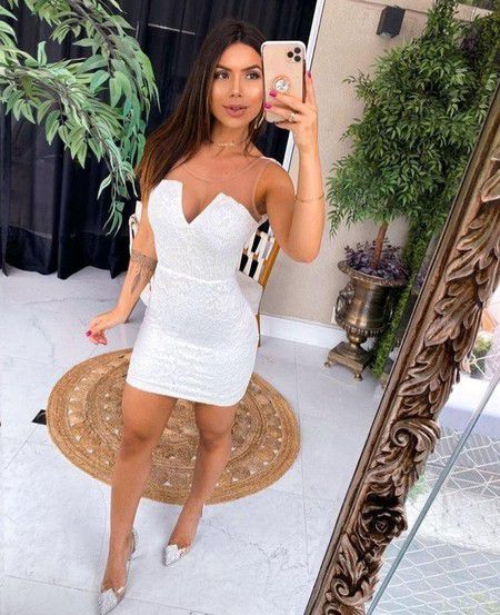 Vestido Curto Coladinho Branco - Dandara