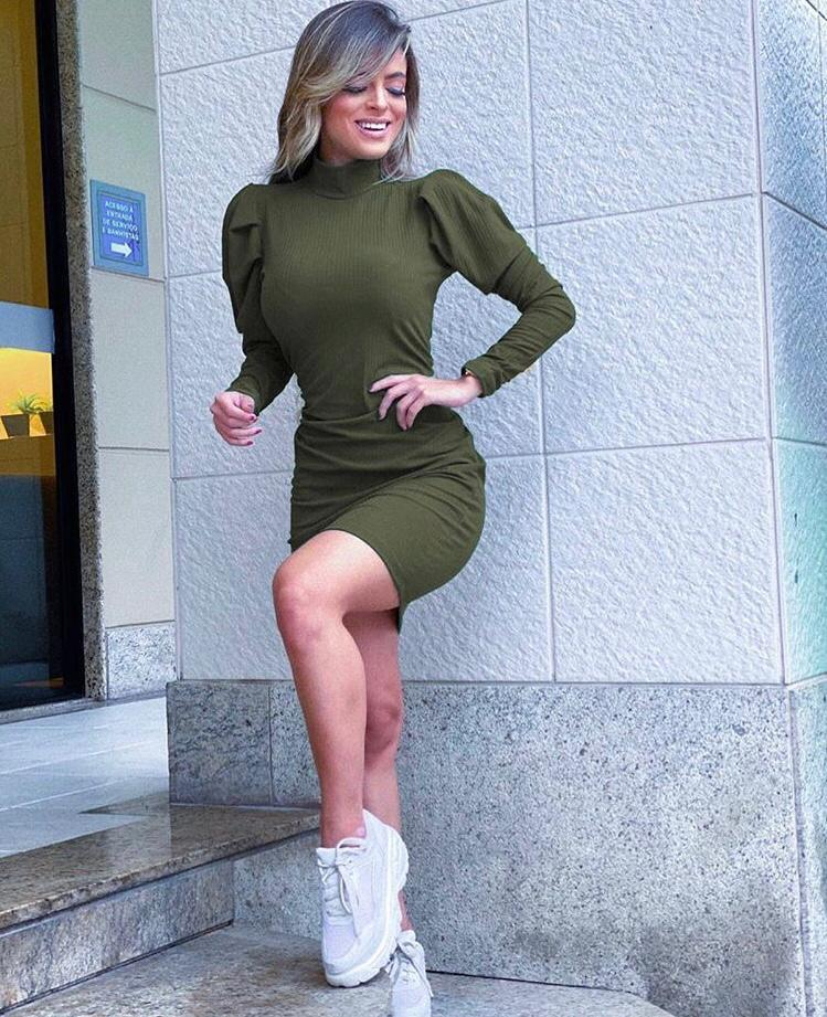 Vestido Curto Gola Alta Verde - Daniela