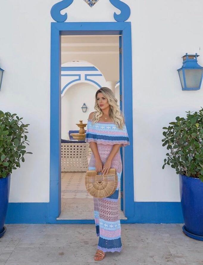 Vestido Longo Arco Iris com Babado Tricot - Laura