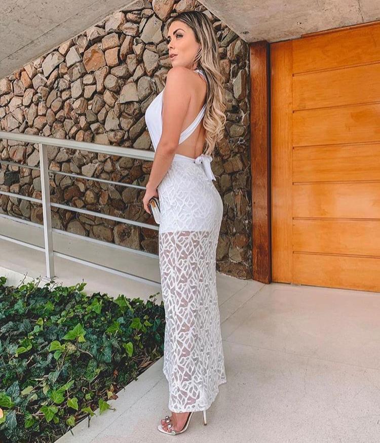 Vestido Longo Branco Rendado com Bojo - Ana Beatriz