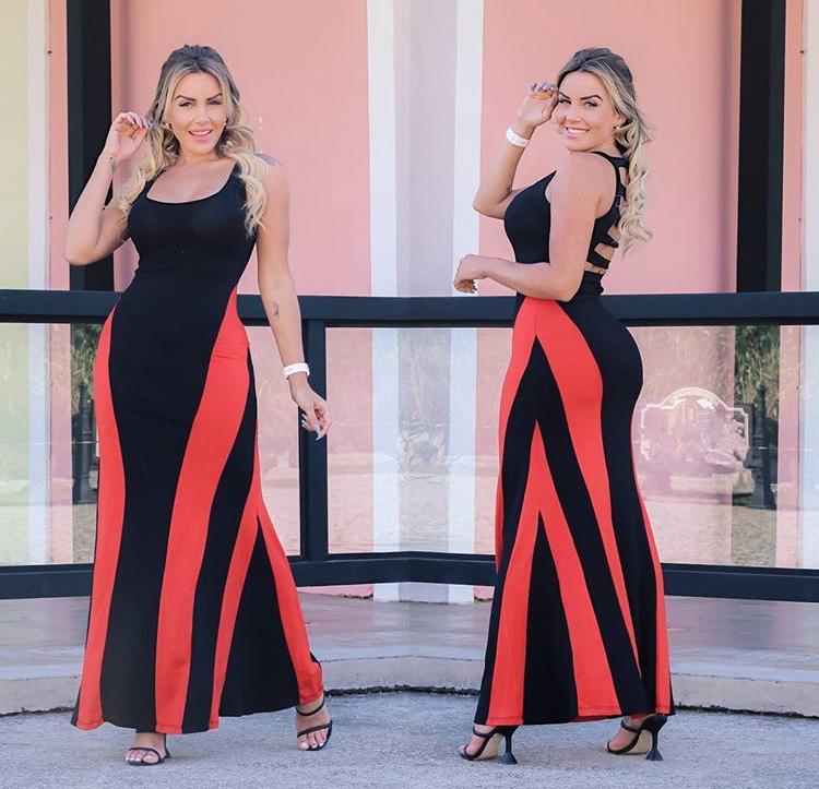 Vestido Longo Costas Nua Regata Preto com Vermelho - Yara