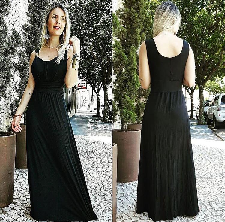 Vestido Longo Feminino com Bojo Preto Liso – Adriana
