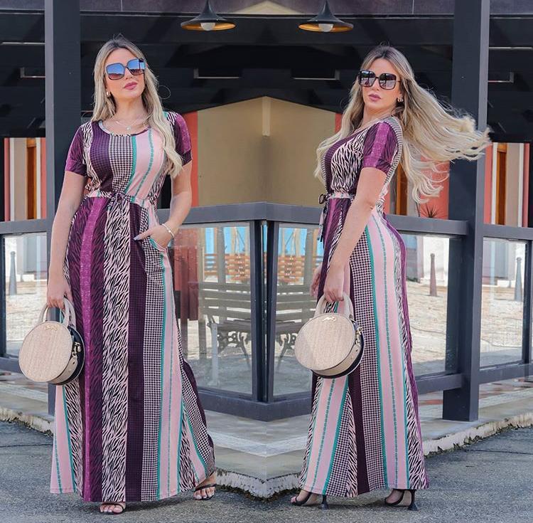 Vestido Longo Feminino Fechado com Manguinha e Bolso Estampado Lilás - Amália