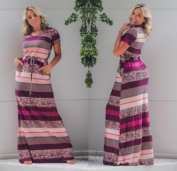 Vestido Longo Feminino Fechado com Manguinha e Bolso Estampado Lilás – Ana Maria