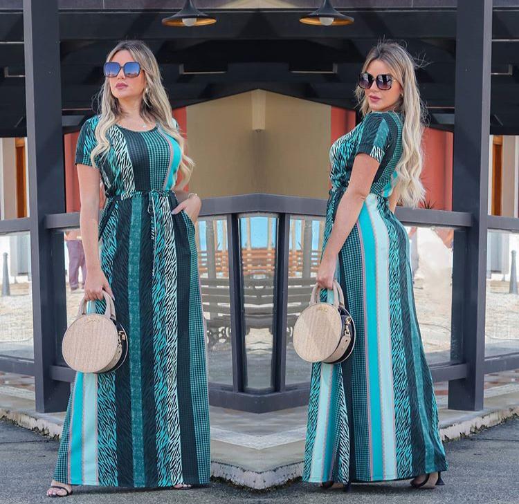 Vestido Longo Feminino Fechado com Manguinha e Bolso Estampado Verde - Amália