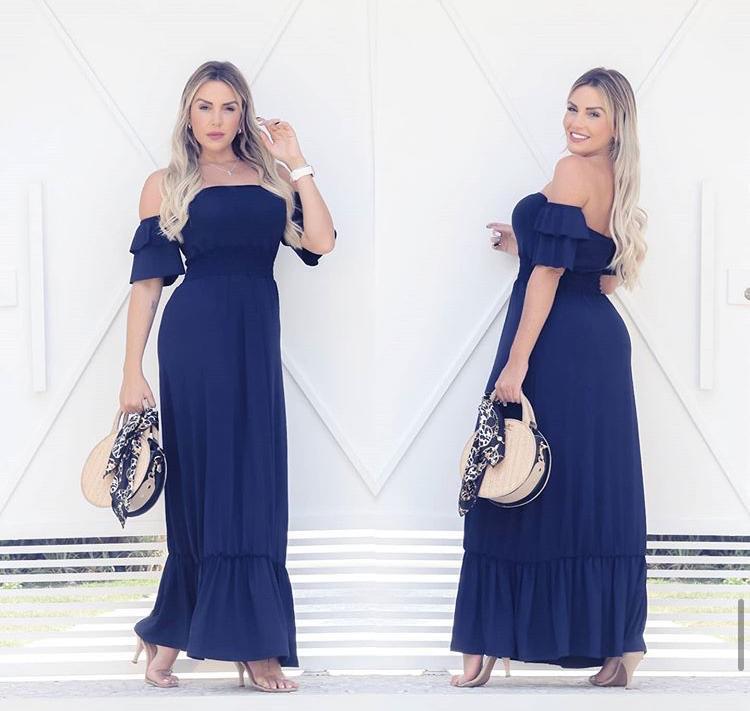 Vestido Longo Feminino Lastex com Babado Azul - Marcela
