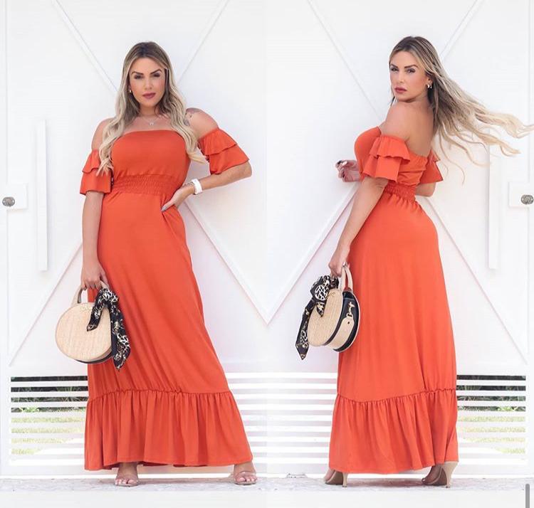 Vestido Longo Feminino Lastex com Babado Laranja - Marcela