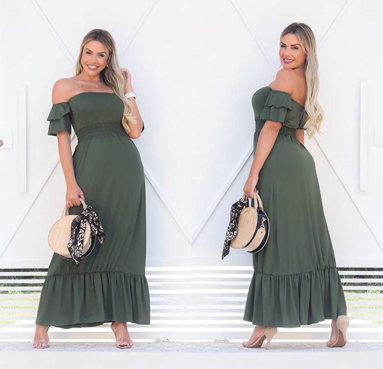 Vestido Longo Feminino Lastex com Babado Verde - Marcela