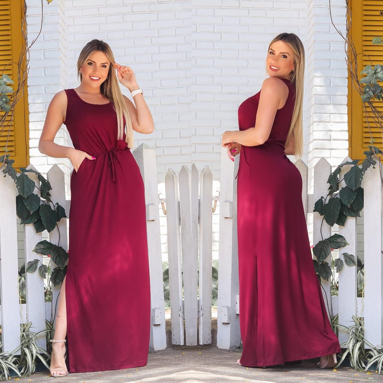 Vestido Longo Feminino Regata com Bolso e Fenda Bordô Liso - Alice