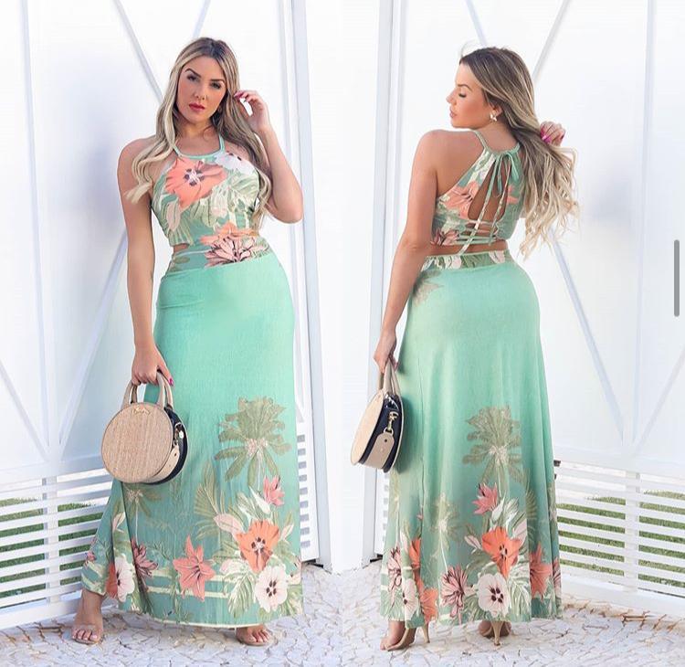 Vestido Longo Feminino Regata Costas Nua com Bojo Estampado Verde - Vitória