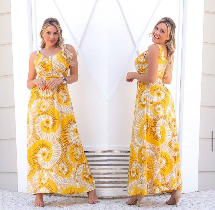 Vestido Longo Feminino Tie Dye com Bojo Amarelo – Adriana