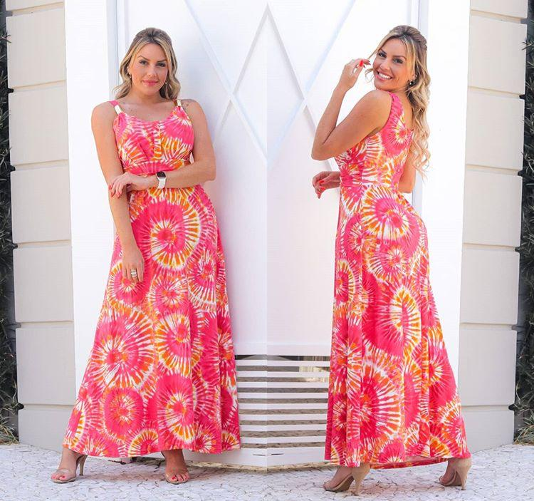 Vestido Longo Feminino Tie Dye com Bojo Rosa – Adriana