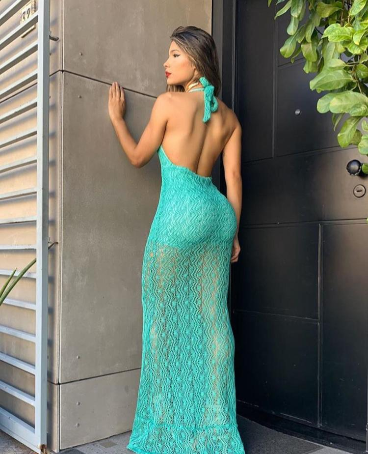 Vestido Longo Festa Esmeralda Crochê - Olívia