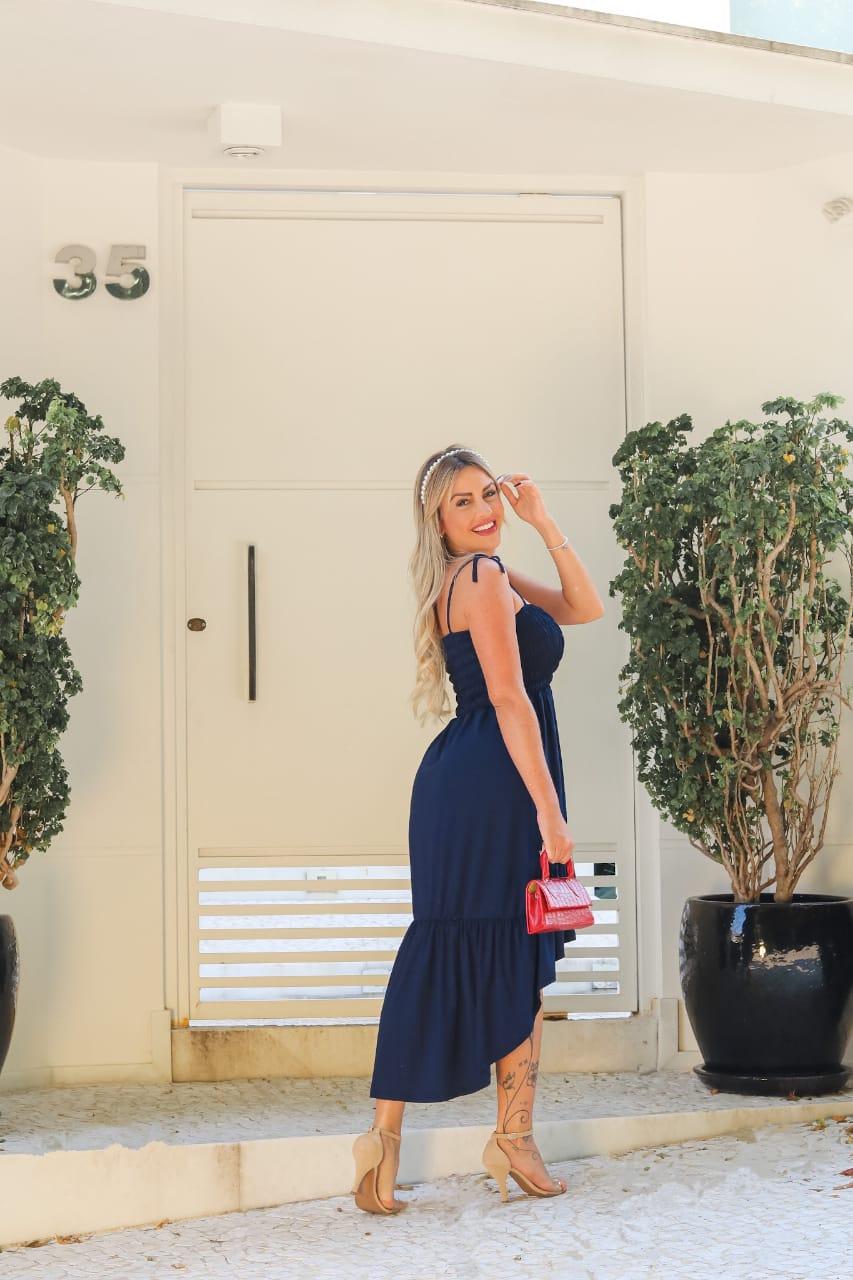Vestido Longo Lastex Alcinha Azul - Keyla