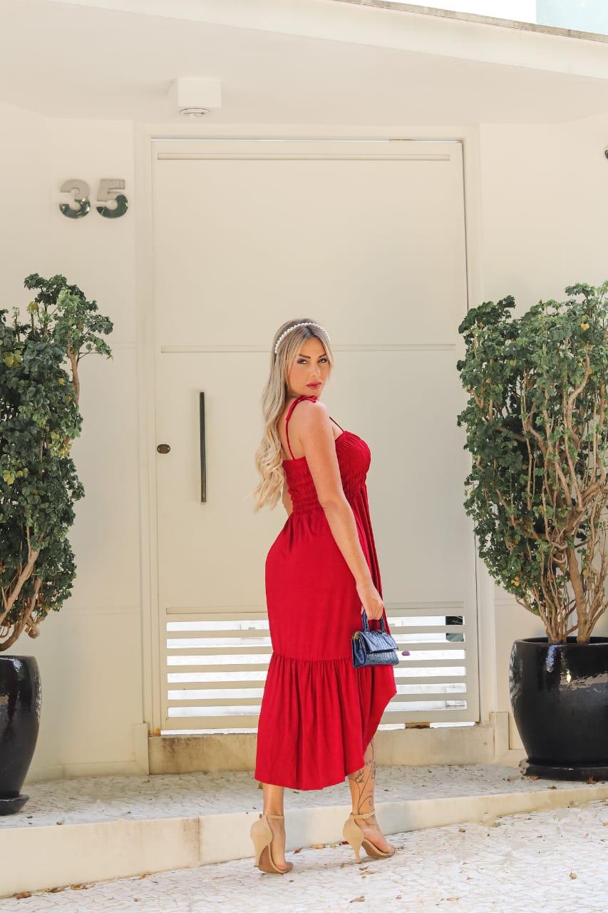 Vestido Longo Lastex Alcinha Vermelho - Keyla