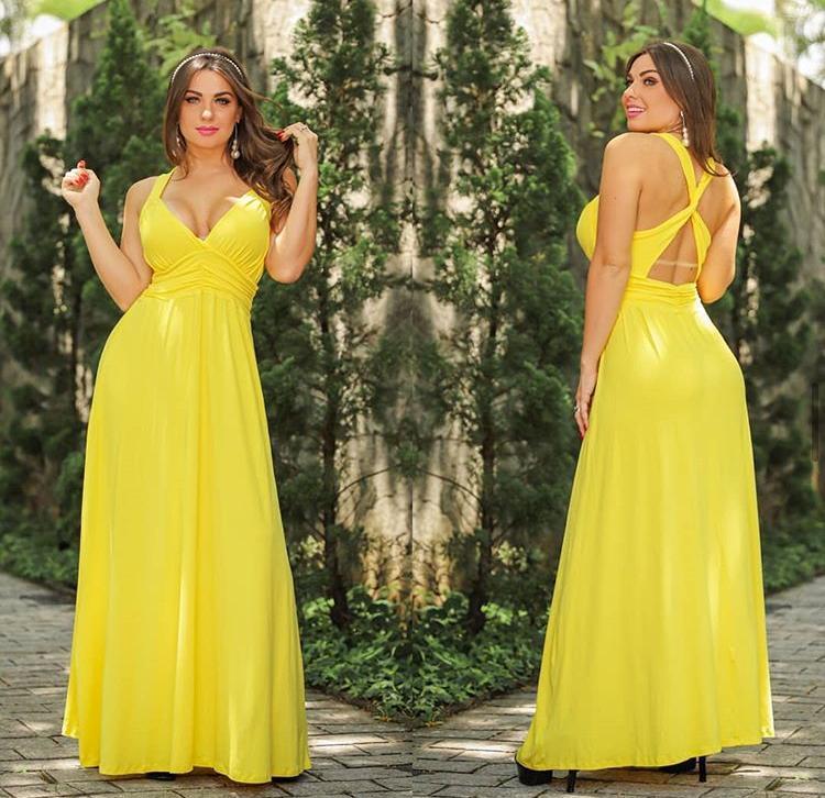 Vestido Longo Regata Amarelo – Larissa