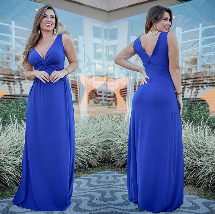 Vestido Longo Regata Azul – Tatiane