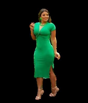 Vestido Midi Canelado Com Fenda Manguinha Verde - Joana