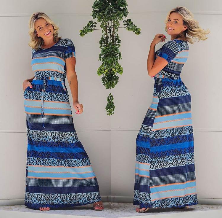 Vestido Longo Manga Curta Azul - Nicole