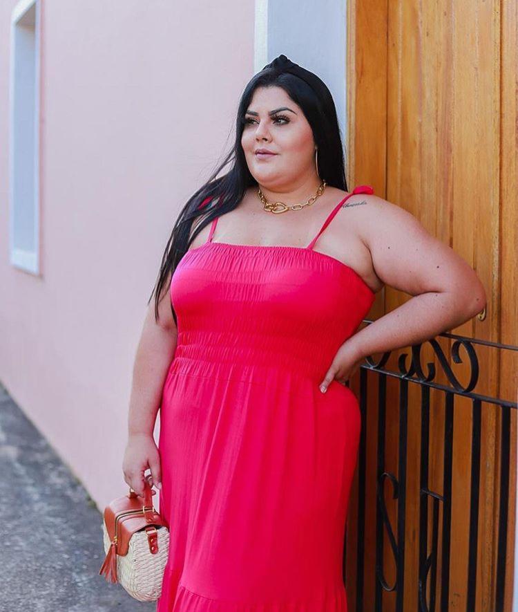 Vestido Plus Size Longo Feminino Alcinha com Lastex e Bojo Pink - Victoria