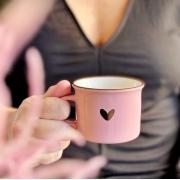 Caneca de Cerâmica Rosa com Coração 175ml