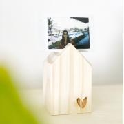 Casinha de Madeira Pinus com Coração para Foto ou Cartão