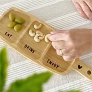 Petisqueira de Bamboo com 3 Divisórias Eat Drink Enjoy