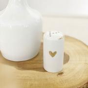 Pimenteiro de Porcelana com Coração e Friso em Ouro