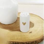 Saleiro de Porcelana com Coração e Friso em Ouro