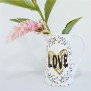 Vaso com Alça de Cerâmica Love