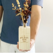 Vaso de Madeira Pinus Felicidade com Tubo de Ensaio de Vidro