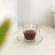 Xícara com Pires de Vidro para Café 70ml Felidade Vem de Dentro