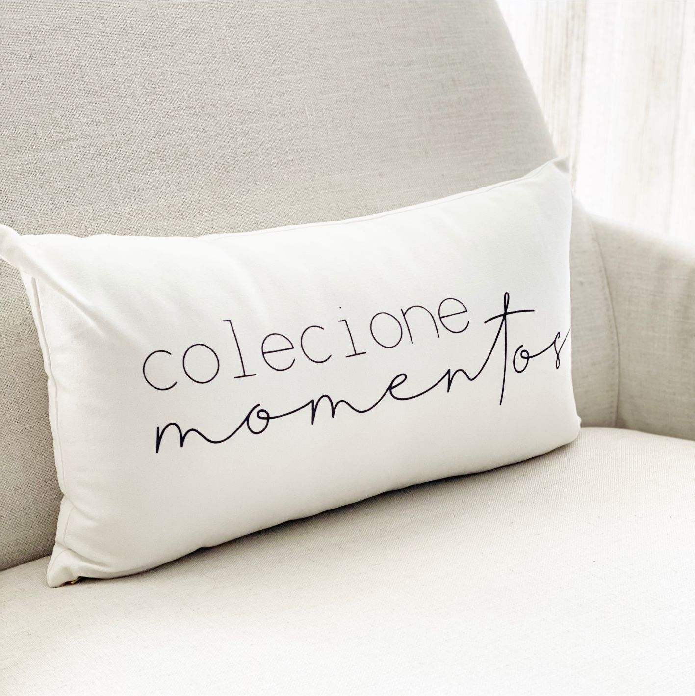 Capa de Almofada Decorativa  Baguete Colecione Momentos