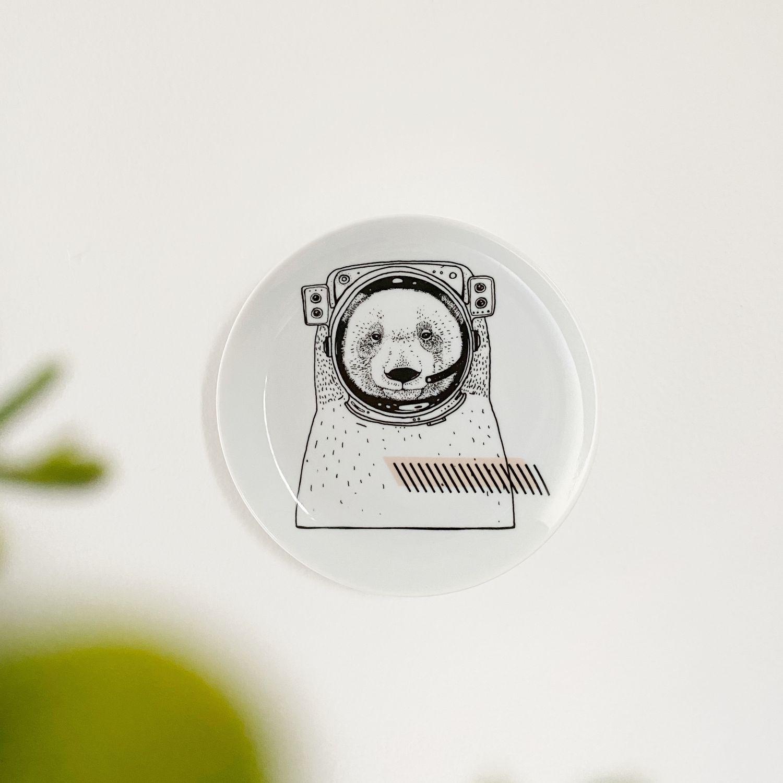 Prato de Porcelana Decorativo Urso