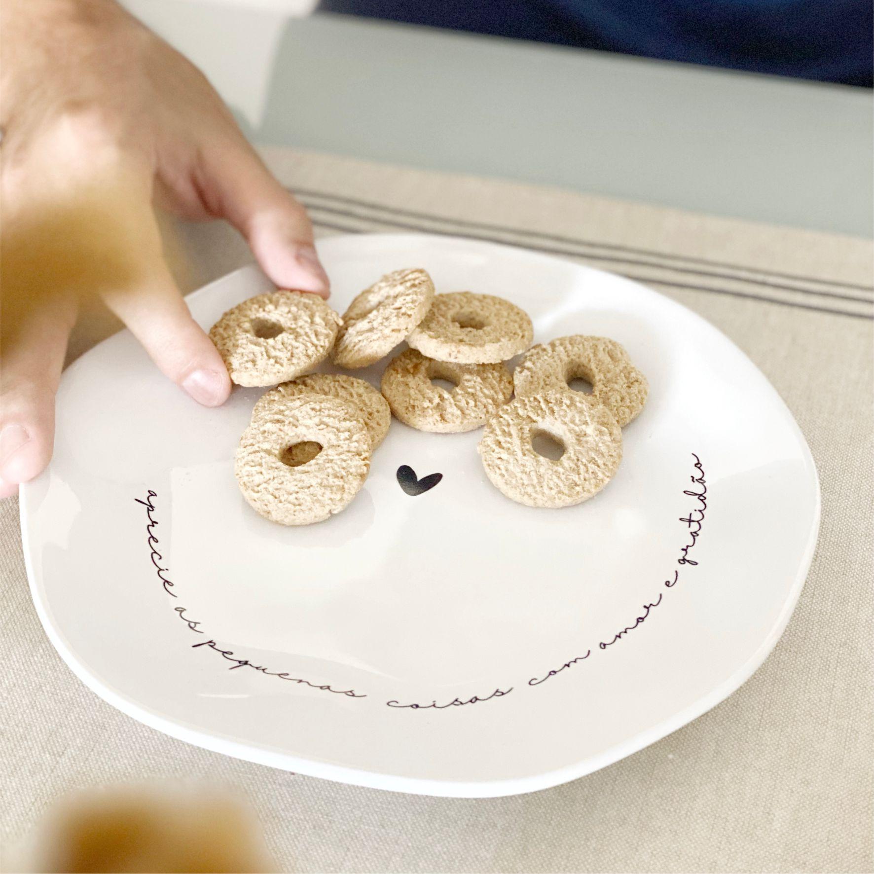Prato de Sobremesa de Porcelana Geométrico Branco Aprecie