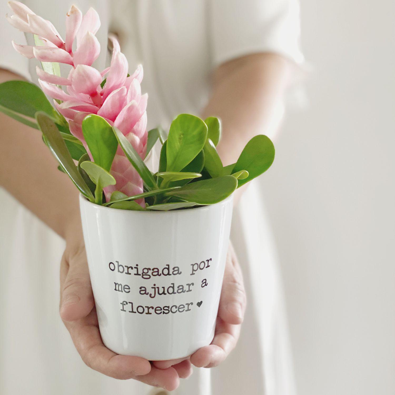 Vaso de Cerâmica Branco Florescer