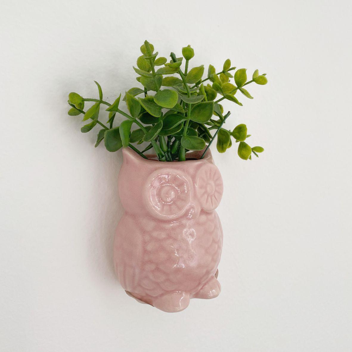Vaso de Cerâmica Coruja Rosa