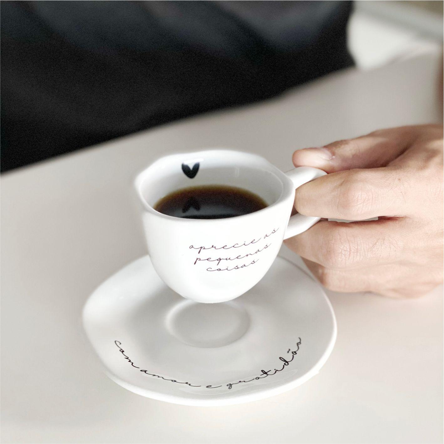 Xícara com Pires Branco Aprecie as Pequenas Coisas para Café 75ml