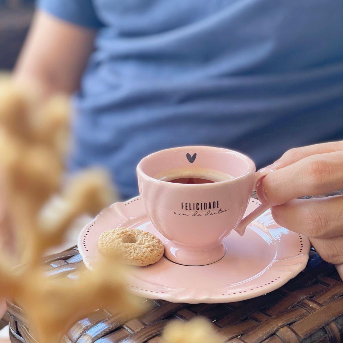 Xícara com Pires Felicidade para Café Rosa 75ml