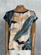Blusa Feminina Manga Curta Estampa Verde e Marfim