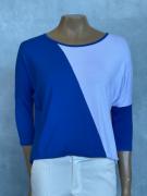 Blusa Feminina Meia Manga Soltinha Azul e Branco