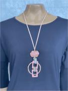 Colar Feminino Longo Artesanal Pingente Rosa com Anéis Dourados