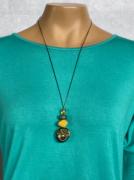 Colar Feminino Longo Artesanal Pingente Verde e Amarelo